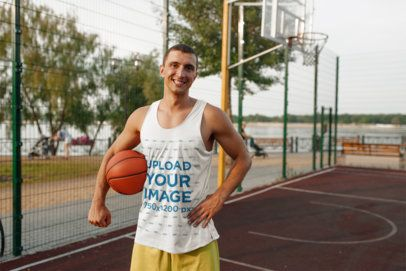 Tank Top Mockup Featuring a Smiling Basketball Player 37969-r-el2