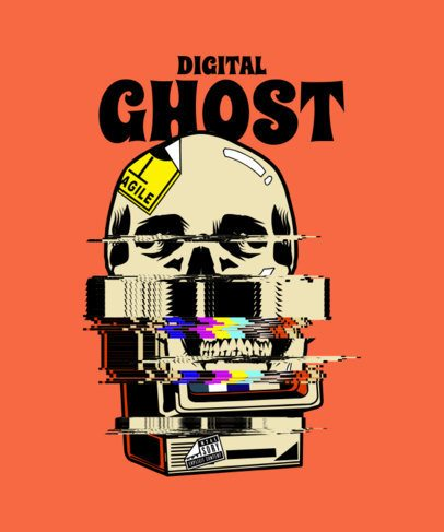 Ghastly T-Shirt Design Template with a Glitching Graphic 2632h