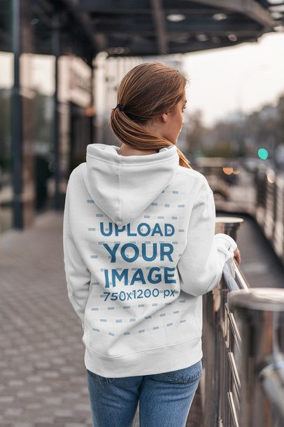 Back View Mockup of a Long-Haired Woman Wearing a Hoodie in the City 4785-el1