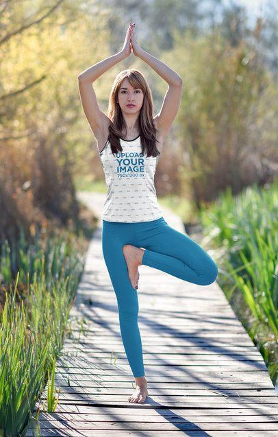 Sublimated Tank Top Mockup of a Woman Doing Yoga at a Park 38200-r-el2