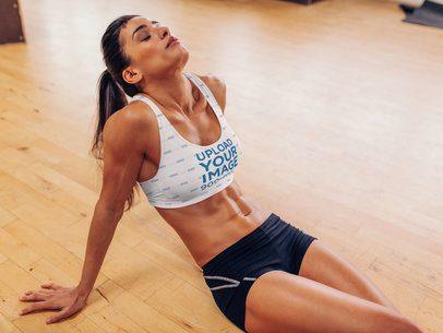 Sports Bra Mockup of a Fit Woman Resting 36961-r-el2