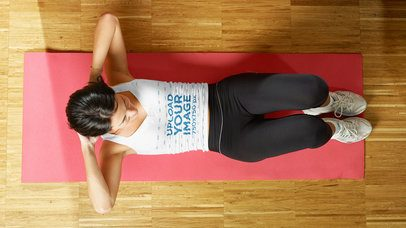 Tank Top Mockup of a Woman Doing Crunches at Home 37267-r-el2