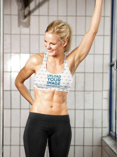 Sports Bra Mockup Featuring a Fit Woman Smiling 37233-r-el2