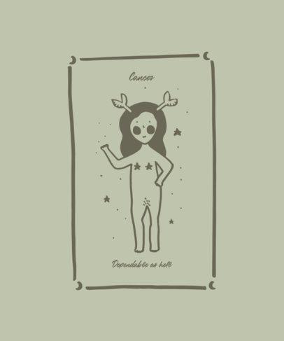 Empowering Zodiac T-Shirt Design Maker for Cancer 1935d