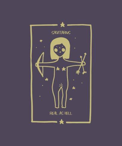 Illustrated T-Shirt Design Maker with a Feminine Representation of Sagittarius 1935h