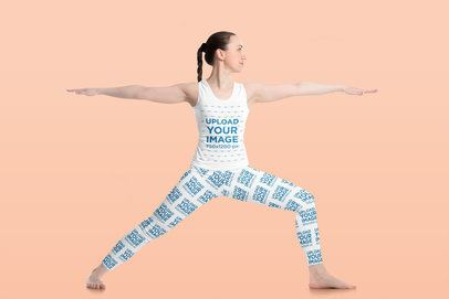 Tank Top and Leggings Mockup of a Woman Doing a Warrior Two Yoga Pose 38276-r-el2