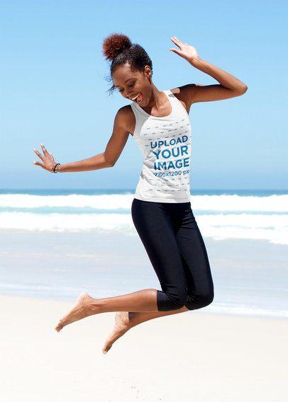 Tank Top Mockup of a Woman Jumping at the Beach 37936-r-el2