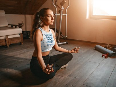 Mockup of a Woman Meditating in a Sleeveless Crop Top 37180-r-el2