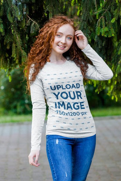 Long Sleeve T-Shirt Mockup of a Curly-Haired Woman Posing by a Tree 4727-el1