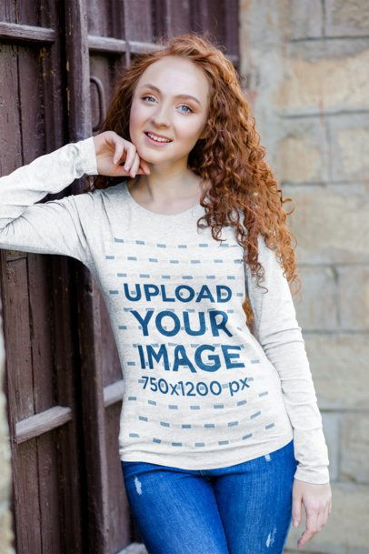Mockup of a Woman With Curly Hair Wearing a Heather Long Sleeve Tee 4728-el1