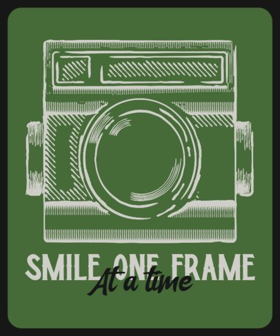 T-Shirt Design Template with an Engraving Graphic of a Vintage Camera 2637f