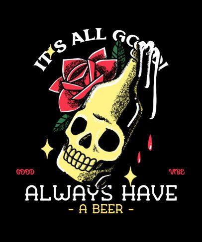 Tattoo-Style T-Shirt Design Maker Featuring a Beer Bottle 2629d