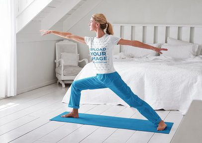 T-Shirt Mockup of a Woman Doing Yoga in the Bedroom 37055-r-el2