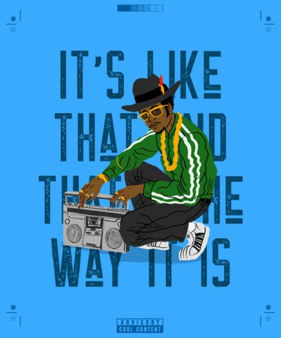 90's Hip-Hop T-Shirt Design Creator Featuring a Man with a Boombox 2620b
