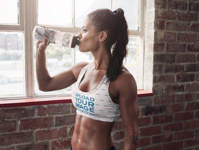 Sports Bra Mockup of a Fit Woman Drinking Water 37175-r-el2