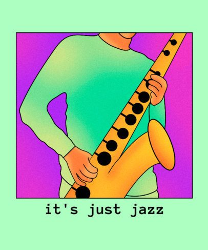 Jazz T-Shirt Design Creator Featuring a Saxophonist Illustration 2638h