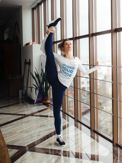 Mockup of a Ballerina Wearing a Long Sleeve T-Shirt 37326-r-el2