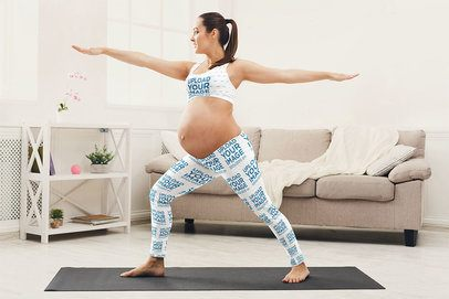 Sports Bra and Leggings Mockup of a Pregnant Woman Doing Yoga 36980-r-el2