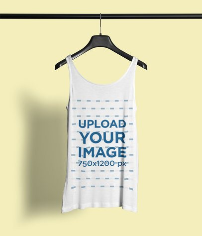 Mockup Featuring a Customizable Tank Top Hanging Against a Plain Color Backdrop 4429-el1