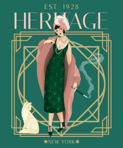 Art-Deco Styled T-Shirt Design Template Featuring a Stylish Woman Illustration 2623a