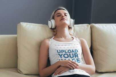 Tank Top Mockup of a Woman Listening to Music at Home 38728-r-el2