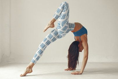Leggings Mockup of a Woman Doing Yoga in a White Room 37328-r-el2