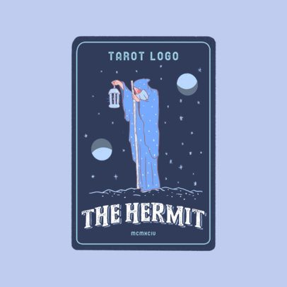 Logo Template Featuring a Tarot Card with a Hermit Graphic 3369c