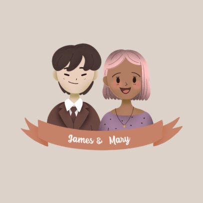 Logo Template Featuring Couple Avatars with Customizable Features 3372e