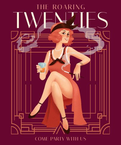 Art-Deco T-Shirt Design Generator Featuring a Woman Smoking 2623d