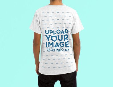 Back-View Mockup of a Man Wearing a Heather T-Shirt in a Studio 4465-el1