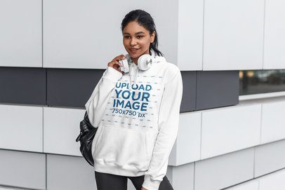 Pullover Hoodie Mockup Featuring a Smiling Woman With Headphones 4847-el1