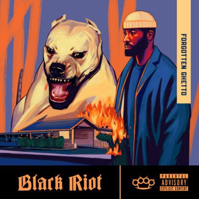 Rap Album Cover Generator Featuring a Raging Dog and a Burning House Illustration 3380b