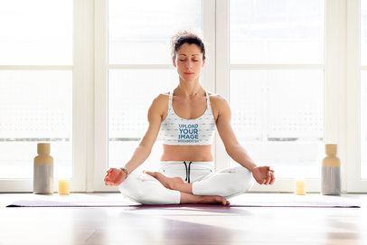 Mockup of a Woman Practicing Yoga in a Sublimated Sports Bra 37293-r-el2