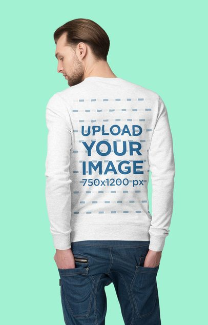 Back View Mockup of a Man Wearing a Heathered Crewneck Sweatshirt at a Studio 4788-el1