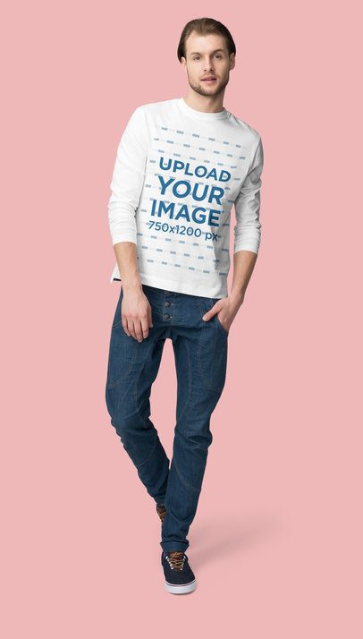 Long Sleeve Tee Mockup Featuring a Man Posing Against a Colored Backdrop 4789-el1