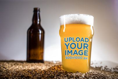 Mockup of a Beer Glass Placed Over a Bunch of Malt Grains 36136-r-el2