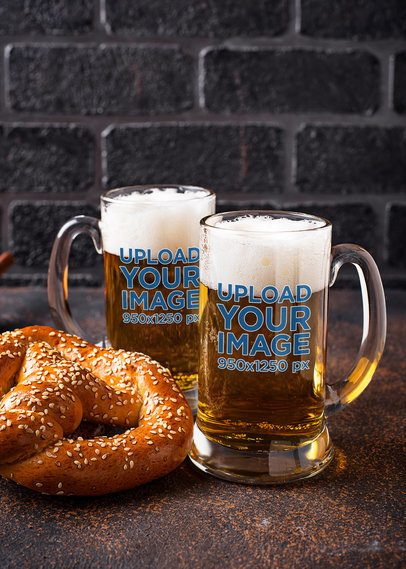 Mockup of Two Beer Glasses and a Pretzel 35726-r-el2
