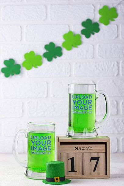 Mockup of Two Beer Glass Featuring a St Patrick's Day Theme 35641-r-el2