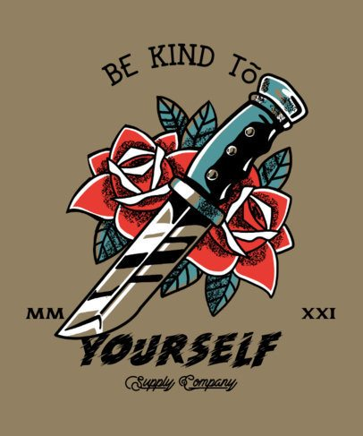 T-Shirt Design Maker Featuring a Tattoo-Inspired Illustration of a Knife and Roses 2629f