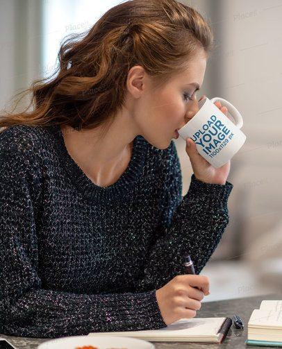 Mockup of a Woman at Home Drinking from an 11 oz Mug 38146-r-el2