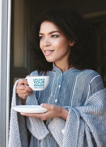 24 oz Mug Mockup of a Woman Having a Coffee on a Cold Day 38278-r-el2