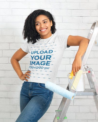 Heather T-Shirt Mockup of a Woman Painting a Wall 38994-r-el2
