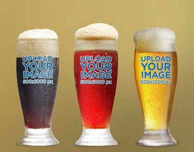 Mockup of Three Beer Glasses Placed Against a Plain Color Backdrop 35984-r-el2