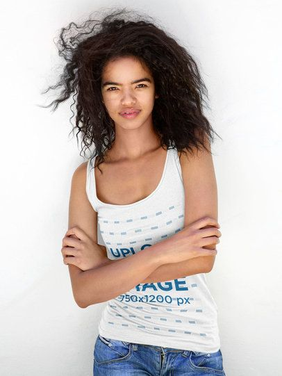 Tank Top Mockup of a Curly-Haired Woman Crossing Arms 38788-r-el2