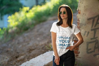 T-Shirt Mockup Featuring a Cool Woman with Sunglasses 4864-el1