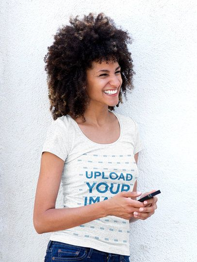 T-Shirt Mockup of a Smiling Woman with Natural Hair 38902-r-el2