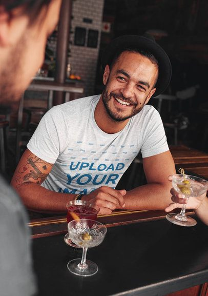 Heather T-Shirt Mockup of a Hipster Man Having Drinks with Friends 38986-r-el2