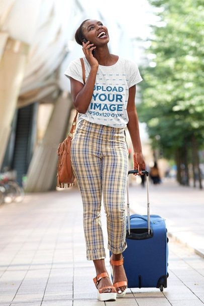 Heather T-Shirt Mockup of a Happy Woman with a Suitcase 38795-r-el2