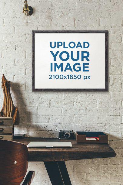 Art Print Mockup Featuring a Rustic Desk 4875-el1