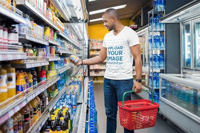 Mockup of a Man with a V-Neck Tee Grocery Shopping 35954-r-el2